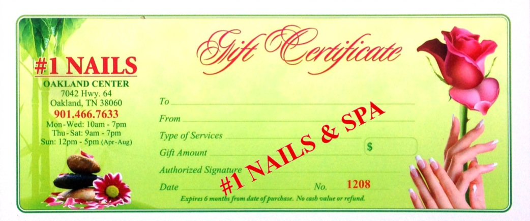 Gift Certificate - #1 NAILS & SPA